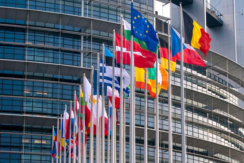 Flaggen der Mitgliedsländer vor EU Parlament in Straßburg, Europa