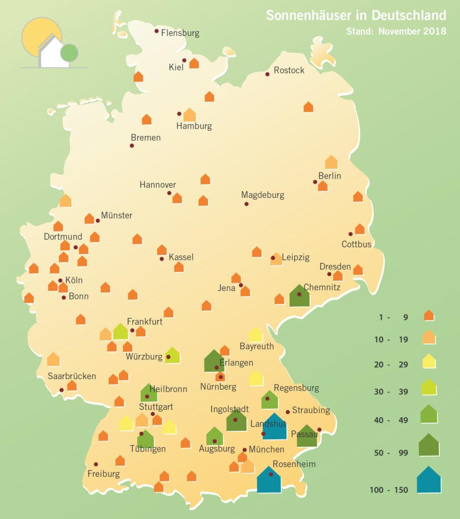 Deutschandkarte mit Verteilung der bereits gebauten Sonnenhäuser.