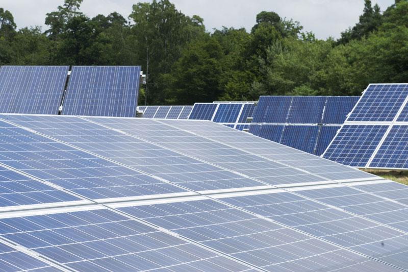 Test-Solarfeld am Campus Nord in Karlsruhe mit kristallinen Solarmodulen