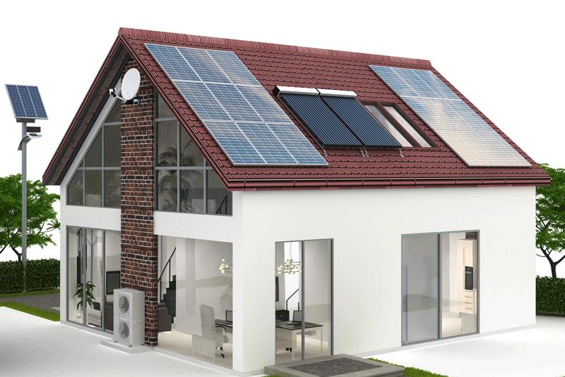 Grafische Darstellung einen EFH mit Photovoltaik- und Solarthermie-Anlage