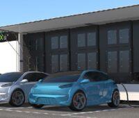 Zu sehen ist die mobile Schnellladelösung.. Elektroautos hängen am Ladetruck.