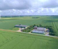 Zu sehen ist eine Luftaufnahme von Friedrich-Wilhelm-Lübke-Koog: Ein einsamer Hof und viele Windräder.