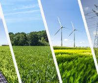 Viergeteiltes Bild: PV-Module, Biomasse, Windkraft, Strommast