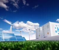 Eine animierte Darstellung zeigt wie Wind- und Solarenergie zusammenwirken für die Sektorenkopplung.