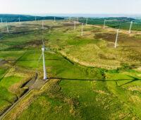 Luftaufnahme mit Windpark auf grünem Land - Windenergie in Irland. Batteriespeicher zur Netzstabilität sind dabei auch gefragt.