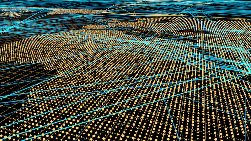Lichtpunkte auf einer Karte symbolisieren den Energieverbrauch. Blaue Linien zeigen die Datenverbindungen an. Beides steht für Digitalisierung