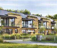 Zeichnung einer Siedlung, in der Mitte Reihenhäuser mit Photovoltaikanlage auf dem Dach.