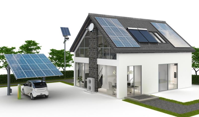 Eine Grafik zeugt ein Carport und Einfamilienhaus mit PV-Anlagen.
