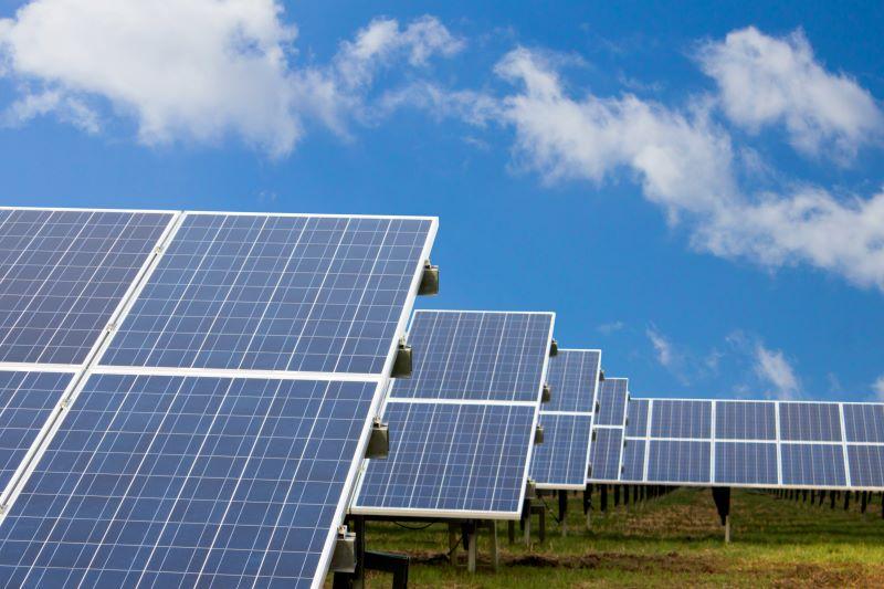 Photovoltaik auf grüner Wiese unter blauem Himmel.