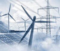 Eine Animation zeigt Windenergie, Photovoltaik und Stromnetze.