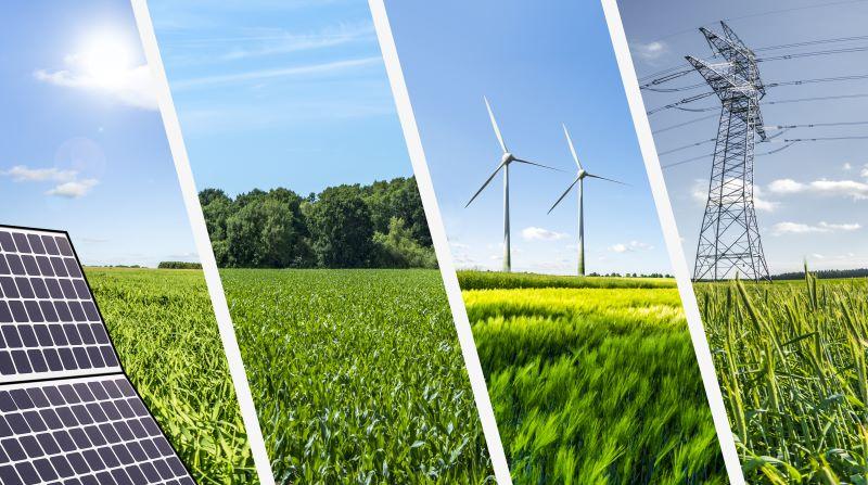 Eine Montage von vier Bildern zeigen verschiedene erneuerbare Energien in der Natur