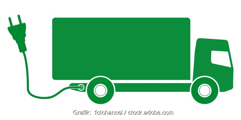 Graphikdesign eines grünen LKW mit Stecker.