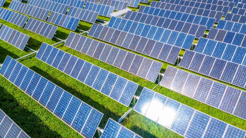Eine Reihe von Solarmodulen auf grüner Wiese, das Sonnenlicht refektierend.