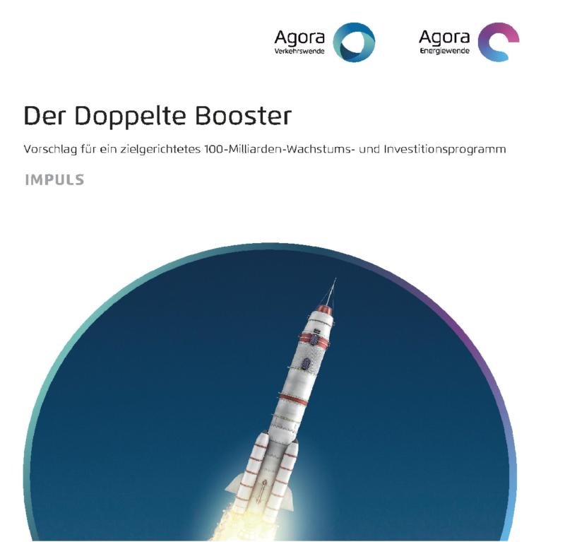 """Zu sehen ist eine startende Rakete auf dem Deckblatt des Konjunkturprogramms der """"Doppelte Booster"""""""