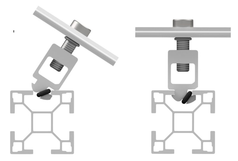 Zu sehen ist eine schematische Darstellung einer Klemme für die Photovoltaik-Montage von Altec.