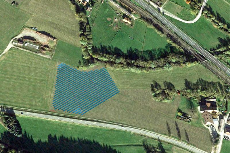 Luftbild mit Simulation der Photovoltaikanlage