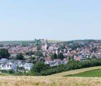 Blick über Häuser des Ortskerns Gentach der Gemeinde Ilsfeld