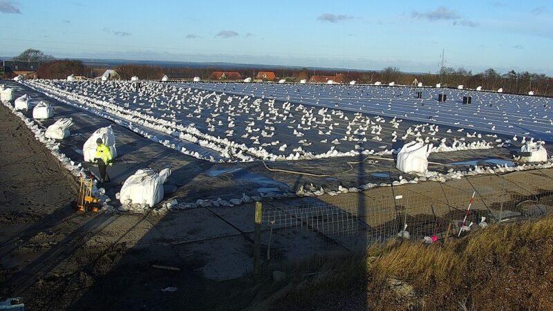 Blick auf den Erdbecken-Energiespeicher von Marstal, einer der ältesten und größten Solarthermieanlagen in Dänemark.