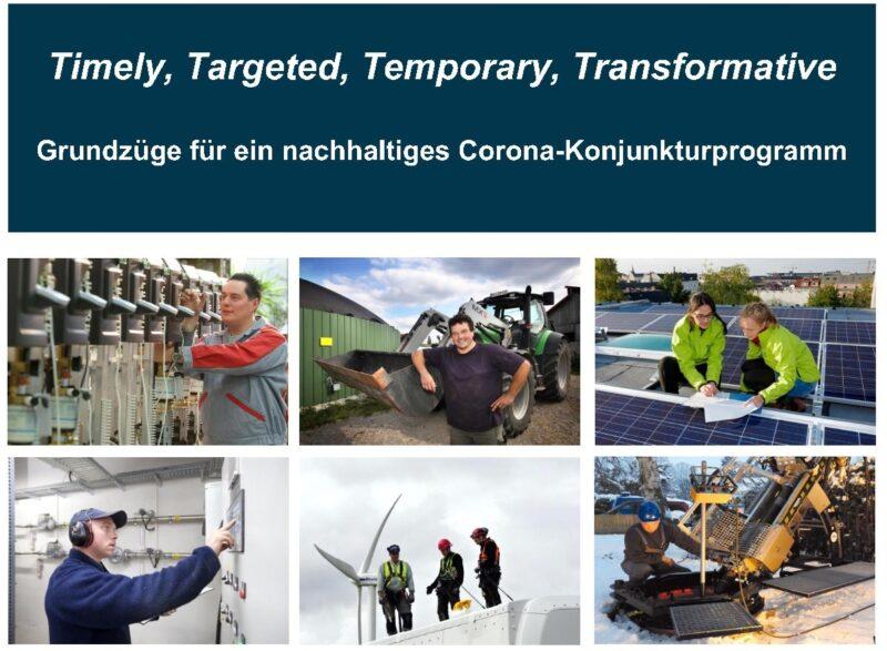 ZU sehen ist das Deckblatt vom BEE-Positionspapier für ein nachhaltiges Konjunkturprogramm.