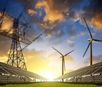 Zu sehen ist ein symbolisches Bild für den Ausbau von Photovoltaik und Windenergie, der durch ein Bund-Länder-Programm für erneuerbare Energien beschleunigt werden könnte.