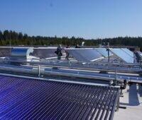 Zu sehen ist eine Solarthermie-Großanlage für die Bereitstellung von Prozesswärme. Erneuerbare Wärme ist Teil der Bundesförderung für Energieeffizienz.