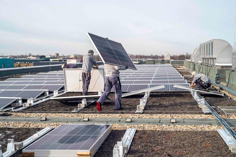 Handwerker bauen PV-Anlage aus einem Gründach