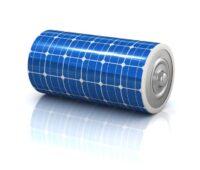 Zu sehen ist eine mit PV ummantelte Batterie als Symbol für das Förderprogramm Netzdienliche Photovoltaik-Batteriespeicher.