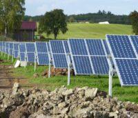 Auf einer hügeligen grünen Wiese stehen Reihen von aufgeständerten Solarmodulen vor einem Stall mit rotem Dach
