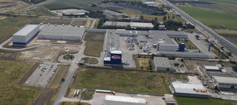 Luftbild auf das fabrikgelände des Nudelproduzenten Barilla.
