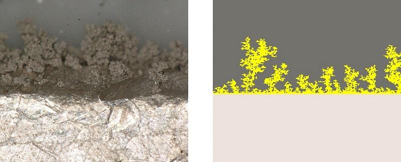 Zu sehen ist der Vergleich des Dendritenwachstums im Experiment zum Modell, das die Batteriespeicher mit metallischen Lithium-Elektroden voranbringen soll.