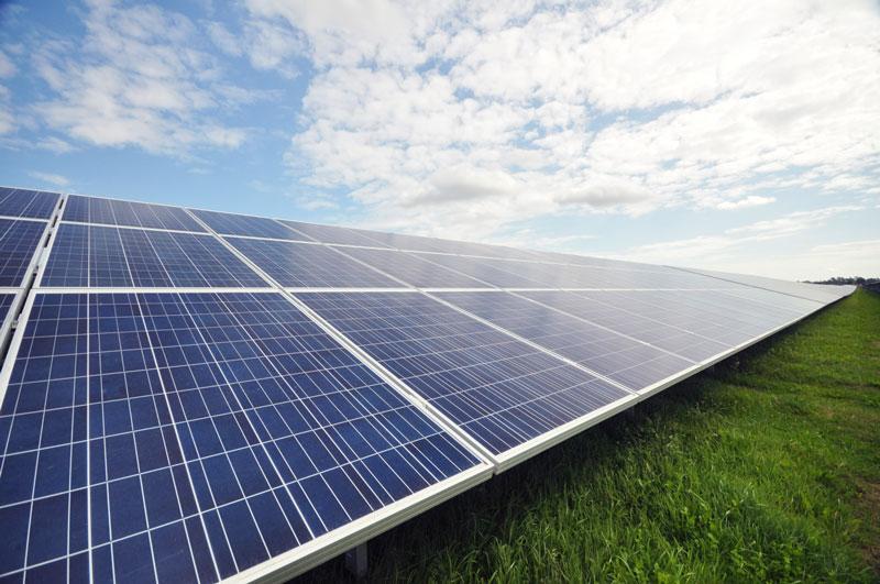 Modulreihe in einem Solarpark