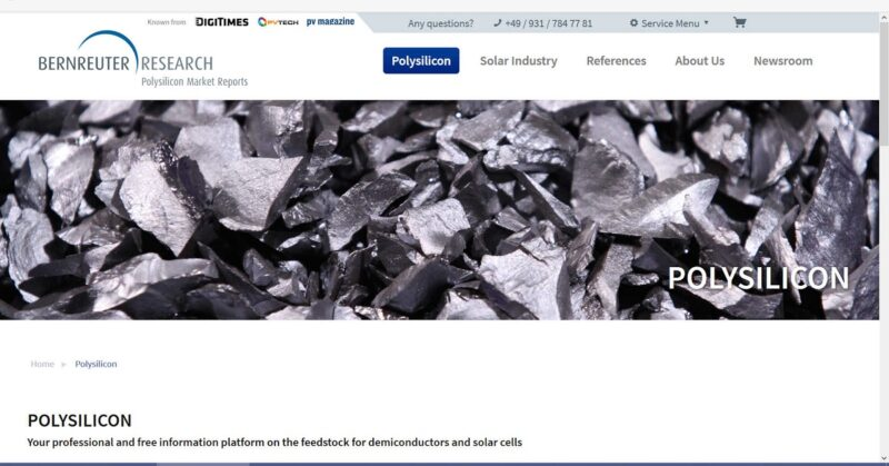 Zu sehen ist ein Screenshot der neuen Polysilizium-Informationsplattform.