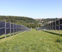 Senkrecht aufgeständerte bifaciale Solarmodule eines Solarparks