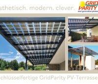 Bild: verschiedene Terassenüberdachungen mit transparenten Doppelglasmodulen. Grid Parity: ästetisch, modern, clever - schlüsselferitge PV Terassen