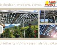Abbildungen von Terassenüberdachungen mit Doppelglasmodulen:ästhetisch.modern.clever: GridParity PV-Terassen als Bausätze