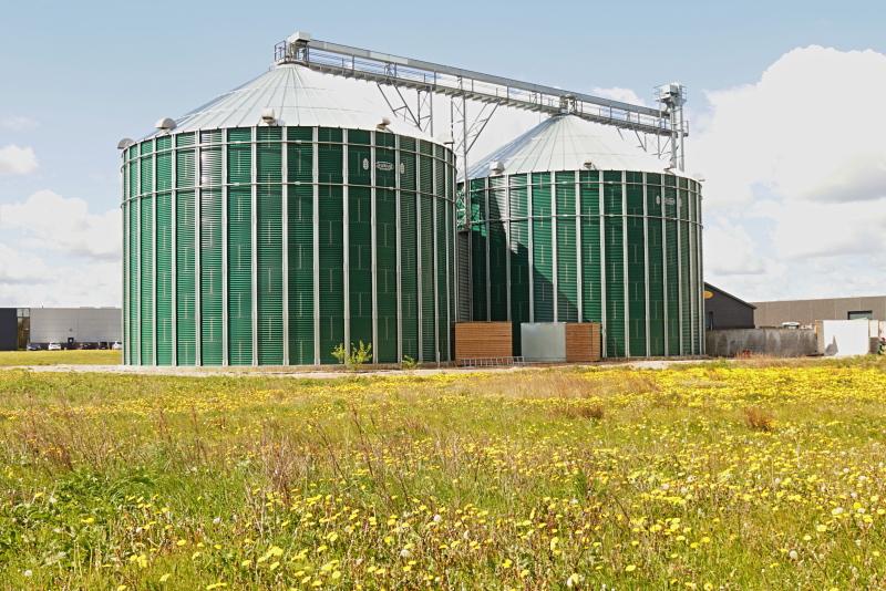 Biogasfermenter vor einer Blumenwiese
