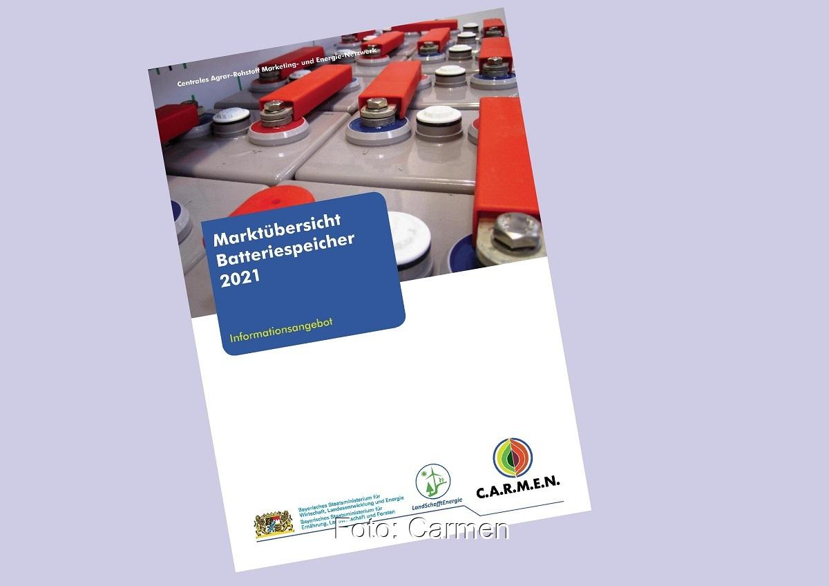 Zu sehen ist das Deckblatt der Carmen Marktübersicht Batteriespeicher 2021.
