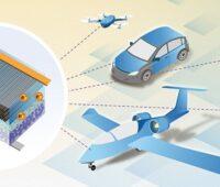 Zu sehen ist der schematische Aufbau einer Strukturbatterie und die Anwendungen wie E-Fahrrad, E-Auto oder E-Flugzeug.