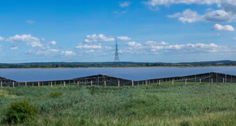 Eine Animation zeigt einen Solarpark auf grüner Wiese