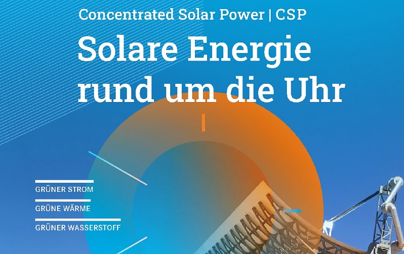 Zu sehen ist das Deckblatt der Studie, die Deutsche Industrieverband Concentrated Solar Power (DCSP) über konzentrierende Solarthermie in Auftrag gegeben hat.