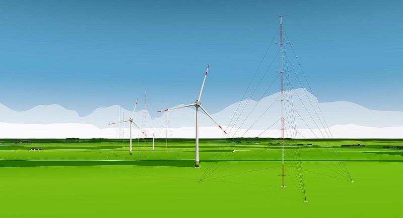 Zu sehen ist eine Animation vom Forschungspark Windenergie Krummendeich, den das DLR in Niedersachsen errichtet.