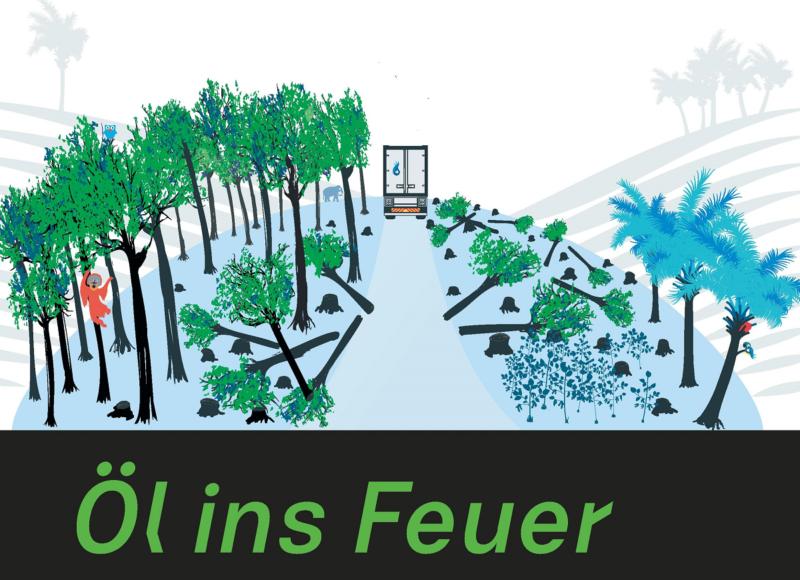 Zu sehen ist eine Zeichnung mit abgeholzten Bäumen als Sybol für die negativen Folgen vom Biokraftstoffboom.