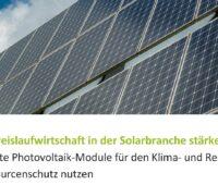 Zu sehen ist ein Ausschnitt des Deckblattes des Weißbuchs zur Wiederverwendung und dem Recycling von Photovoltaik-Modulen.