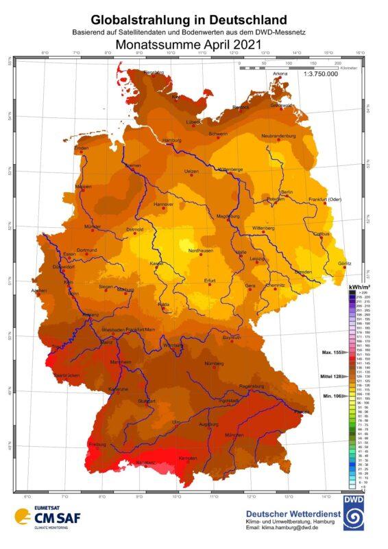 Zu sehen ist eine Karte mit der Sonneneinstrahlung in Deutschland im April 2021.