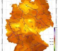 Zu sehen ist eine Karte mit der Sonneneinstrahlung in Deutschland im August 2021.