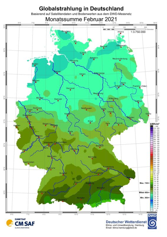 Zu sehen ist eine Karte mit der Sonneneinstrahlung in Deutschland im Februar 2021.