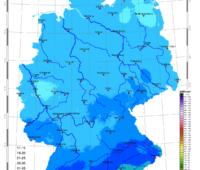 Zu sehen ist eine Karte mit der Sonneneinstrahlung in Deutschland im Januar 2021.