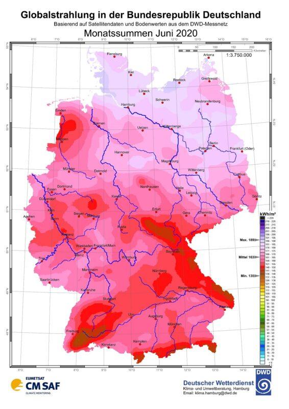 Karte der Sonneneinstrahlung in Deutschland im Juni 2020