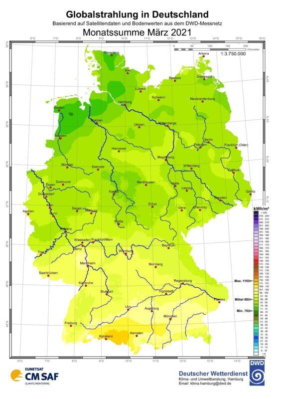 Zu sehen ist eine Karte mit der Sonneneinstrahlung in Deutschland im März 2021.