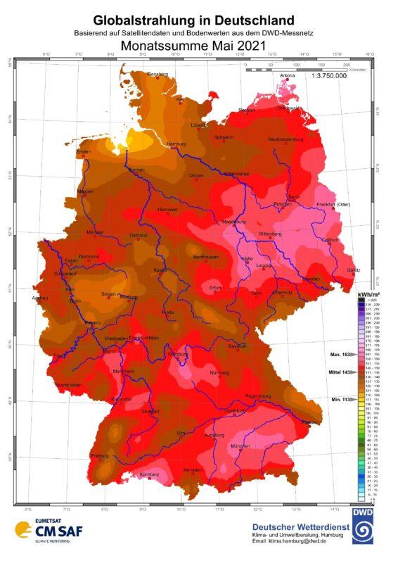 Zu sehen ist eine Karte mit der Sonneneinstrahlung in Deutschland im Mai 2021.